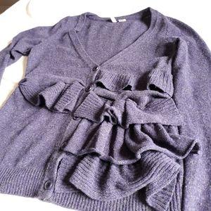 Anthropologie Moth purple ruffle sweater
